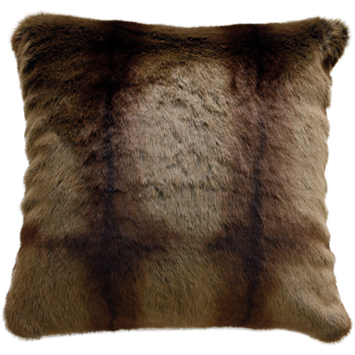 Luxury faux fur cushion in cream and brown, striped beaver from Heirloom.  These are the best fake fur throws, super soft for NZ interior design