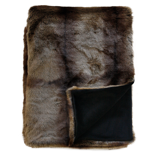 Luxury imitation fur throw, striped beaver with matching cushions