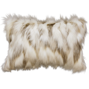 Luxury faux fur cushion in cream and brown from Heirloom.  These are the best fake fur throws, super soft for NZ interior design