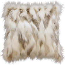 Load image into Gallery viewer, Luxury faux fur throw in cream and brown from Heirloom.  These are the best fake fur throws and cushions, super soft for NZ interior design. Snowhare.
