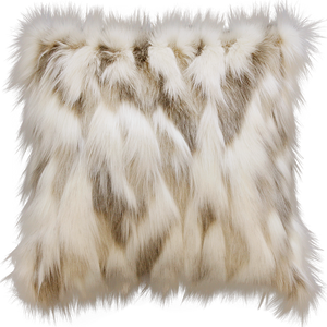 Luxury faux fur throw in cream and brown from Heirloom.  These are the best fake fur throws and cushions, super soft for NZ interior design. Snowhare.