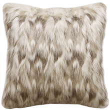 Load image into Gallery viewer, Luxury faux fur cushion in cream and brown from Heirloom.  These are the best fake fur throws, super soft for NZ interior design