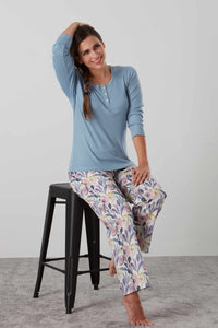 Luxurious knitted long sleeved pyjamas with sateen pants in pink and blue floral - special ladies gift