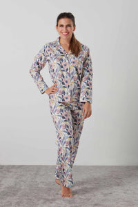 Luxurious sateen long sleeved pyjamas in pink and blue floral - special ladies gift