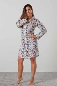 Luxurious sateen night shirt and robe in pink and blue floral - special ladies gift with matching pyjamas