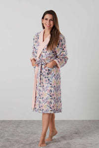 Luxurious sateen dressing gown and robe in pink and blue floral - special ladies gift with matching pyjamas