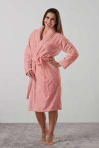 Velour and Terry Cotton bath robe dressing gown in rose - luxury sleepwear from Baksana