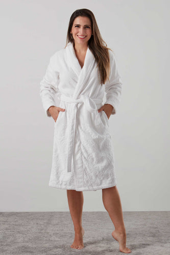 Velour and Terry Cotton bath robe dressing gown in white - luxury sleepwear from Baksana