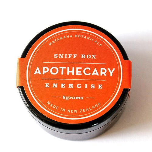 Energise Sniff box, apothecary sniff box from matakana botanicals