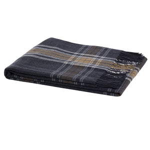 100% Wool Tartan Throw Blanket in charcoal  from Weave for New Zealand interiors