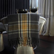 Load image into Gallery viewer, 100% Wool Tartan Throw Blanket in charcoal  from Weave for New Zealand interiors