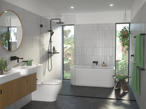 Caroma family bathroom with black taps, shower and accessories