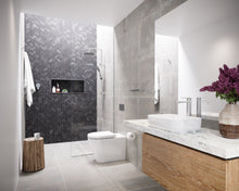 Load image into Gallery viewer, Caroma Luna Chrome basin mixer, overhead rail shower, bath spout and shower mixer New Zealand