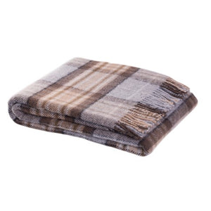 100% Mckellar tartan wool throw in brown and beige from Weave for New Zealand interiors