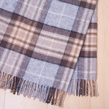 Load image into Gallery viewer, 100% Mckellar tartan wool throw in brown and beige from Weave for New Zealand interiors