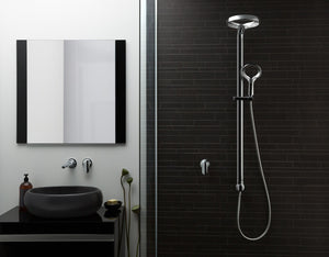 Methven Aio Shower System and wall mounted spout and mixer in chrome