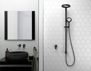 Methven Aio Shower System and wall mounted spout in Matte Black