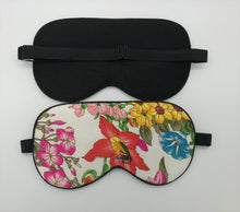 Load image into Gallery viewer, Genuine 100% silk eye shade and eye mask with tropical floral pattern