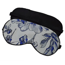Load image into Gallery viewer, Silk Eye mask in blue and white floral pattern