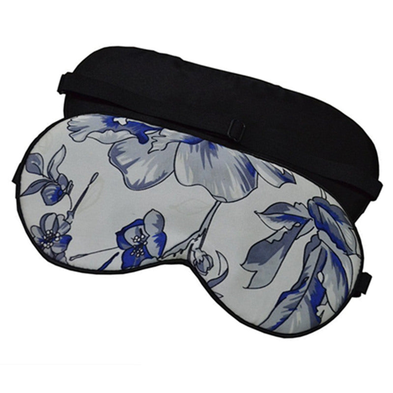 100% genuine silk eye shade and eye mask in blue and white floral pattern