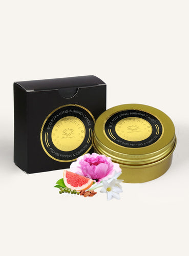 Luxury travel candles in tin, peonies peppers and tuberose. Perfect gift