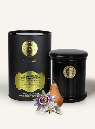 Luxury Soy Candle Pear and Passionflower Candle in black glass