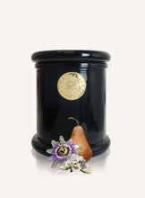 Load image into Gallery viewer, Luxury Soy Candle Pear and Passionflower Candle in black glass