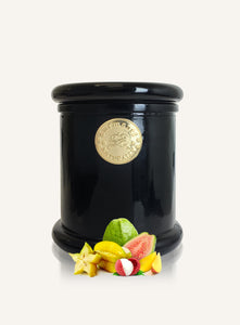 100% natural fruity soy candle with Star Fruit, Lychee and Guava in black glass with gold motif
