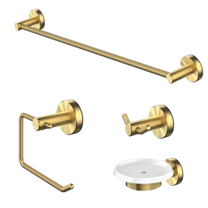 Methven Turoa bathroom accessories in Brushed Gold