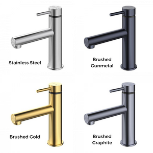Methven Turoa Basin Mixer, stainless steel, brushed gunmetal, brushed gold and brushed graphite