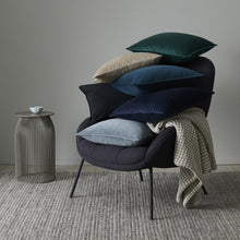 Load image into Gallery viewer, Grey and blue velvet cushions by Weave. For NZ home interiors