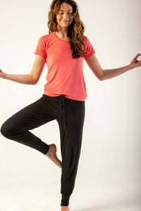 Bamboo loungewear cuffed pant bottoms - black or blue. NZ loungewear or sleepwear in soft bamboo viscose