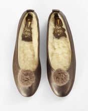 Load image into Gallery viewer, Italian Leather Ballet Slippers in bronze with a pom pom, wool lining and rubber sole. Luxury slippers from My Sanctuary