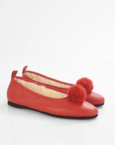 Italian Leather Ballet Slippers in red with a pom pom, wool lining and rubber sole. Luxury slippers from My Sanctuary