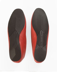 Italian Leather Ballet Slippers in red with wool lining and rubber sole. Luxury slippers from My Sanctuary