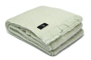 Luxury pure mohair throw in mint light green.  Mohair NZ available at My Sanctuary
