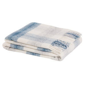 Check wool throw - 100% wool throw in navy check. Quality NZ home furnishings