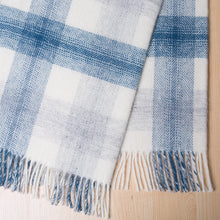 Load image into Gallery viewer, Check wool throw - 100% wool throw in navy check. Quality NZ home furnishings