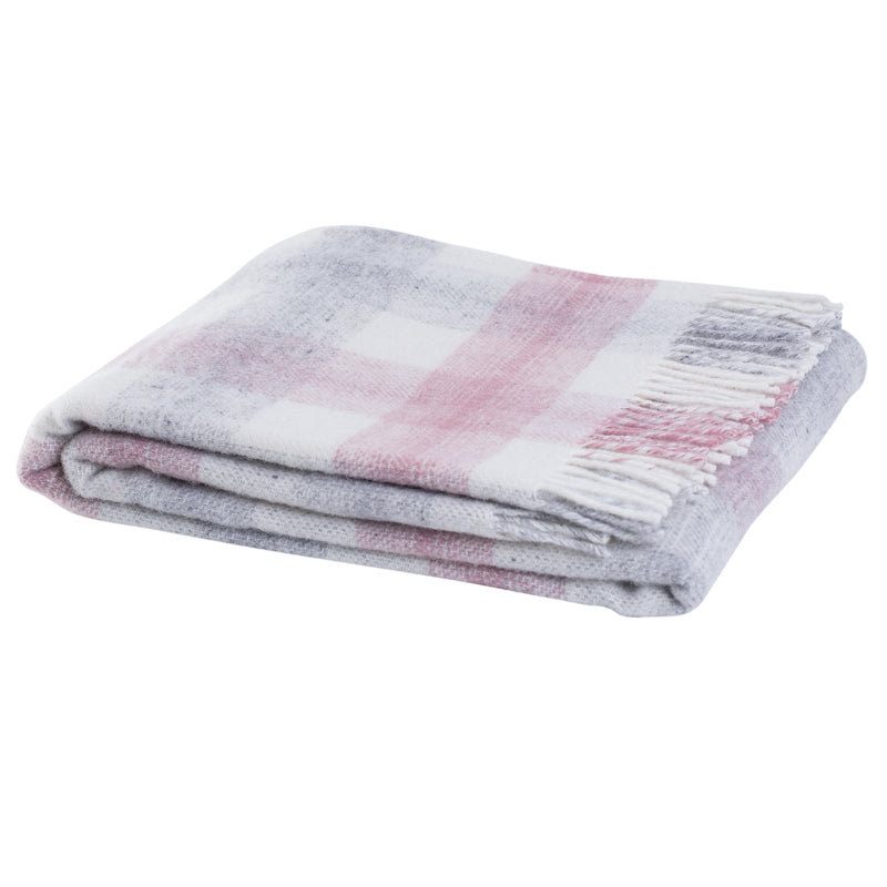 Check wool throw - 100% wool throw in pink check. Quality NZ home furnishings