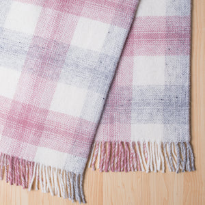 Check wool throw - 100% wool throw in pink check. Quality NZ home furnishing