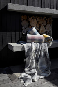 Check wool throw - 100% wool throw in navy check. Quality NZ home furnishing