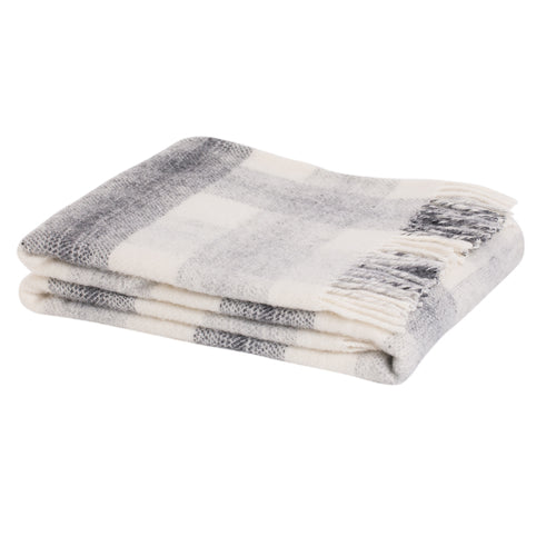 Check wool throw in Slate - 100% wool throw in slate check pattern. Quality NZ home furnishings