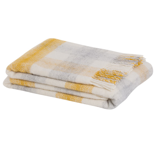 Check wool throw in Yellow - 100% wool throw in yellow check pattern. Quality NZ home furnishings