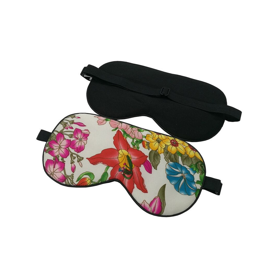 Genuine 100% silk eye shade and eye mask with tropical floral pattern