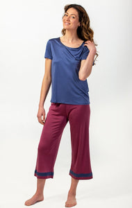 Silk Pyjamas NZ - silk three quarter length pants and matching silk pyjama top. New Zealand silk sleepwear