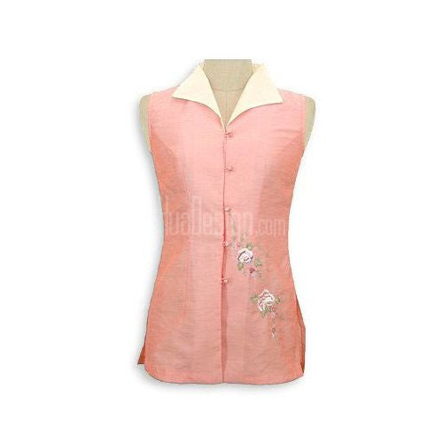 Peach Sleeveless Peony Top