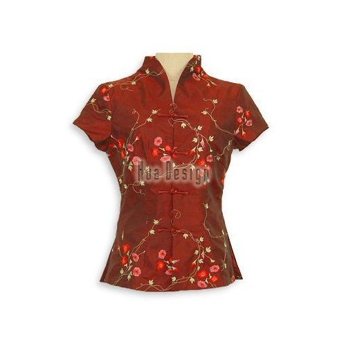 Maroon Winsome Floral Embroidery Blouse