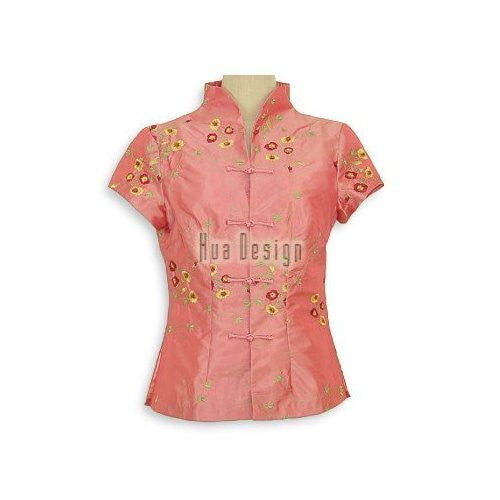 Peach Winsome Floral Embroidery Blouse