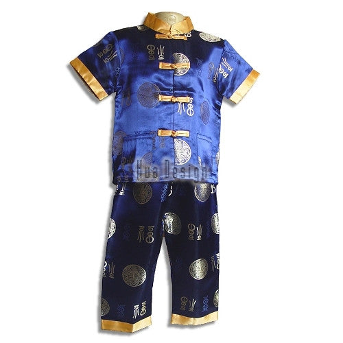 Blue Boys Traditional Brocade Suit