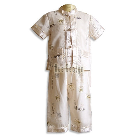 Beige Boys Traditional Linen Suit